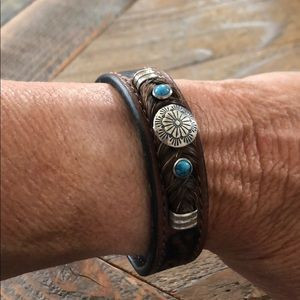 leather snap bracelet w/ silver+turquoise